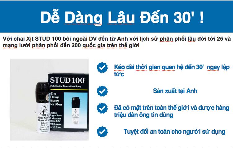 Thuốc xịt chống xuất tinh sớm stud 100