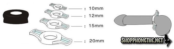 Kích thước vòng đeo dương vật của máy tập dương vật bơm chân không cao cấp